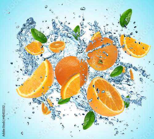 Poster Eclaboussures d eau Oranges in water explosion
