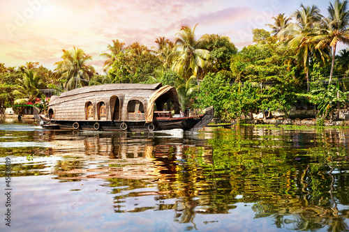 House boat in backwaters Canvas Print