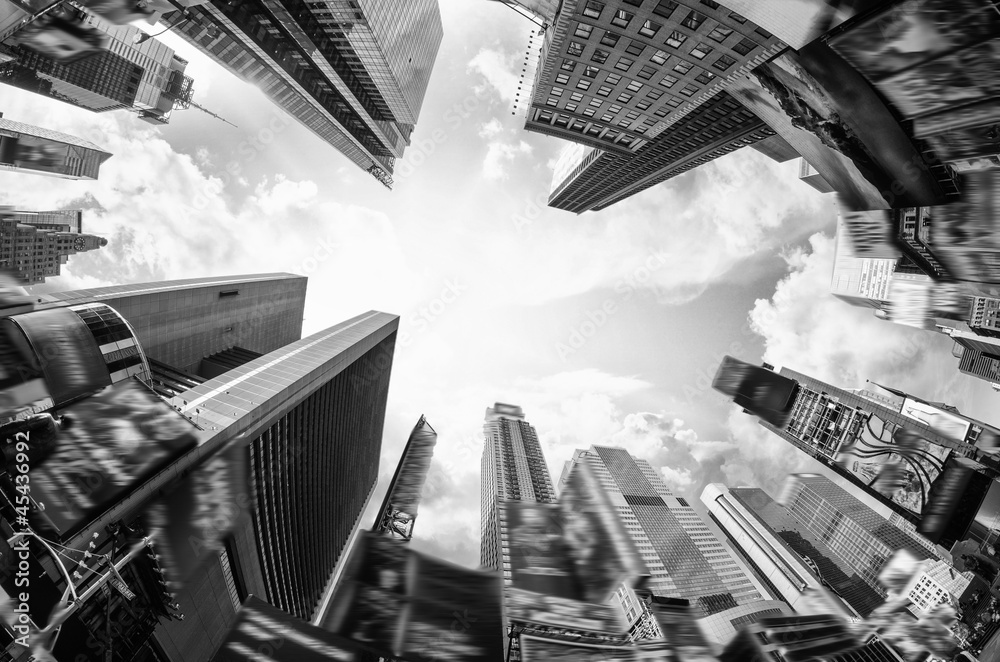 Fototapety, obrazy: Bottom Up view of Skyscrapers from street level