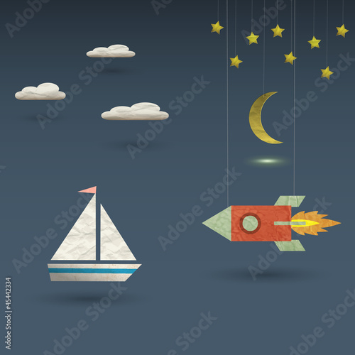Retro rocket and sailboat