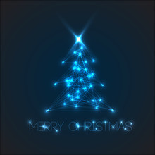 Vector Christmas Tree From Digital Electronic Blue Lights