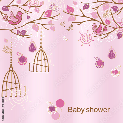 Foto op Canvas Vogels in kooien Baby shower - girl