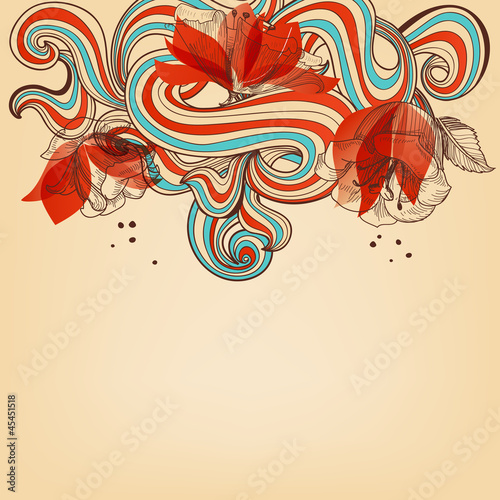 Deurstickers Abstract bloemen Beautiful romantic floral background vector illustration