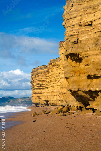 Photo  Burton Bradstock beach Dorse spectacular sandstone cliffs