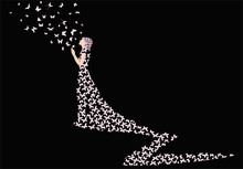 Woman From Butterflies On Black Background