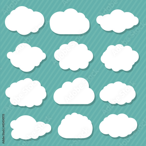 Tuinposter Hemel Cartoon Clouds Set