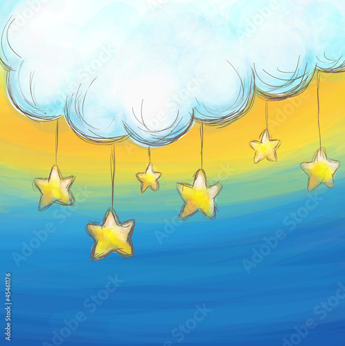 Poster Hemel Cartoon style cloud and stars background