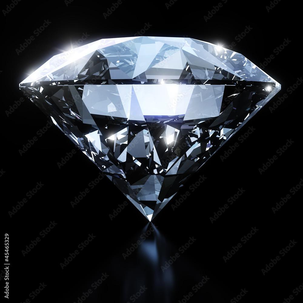Fototapeta Shiny diamond isolated on black background