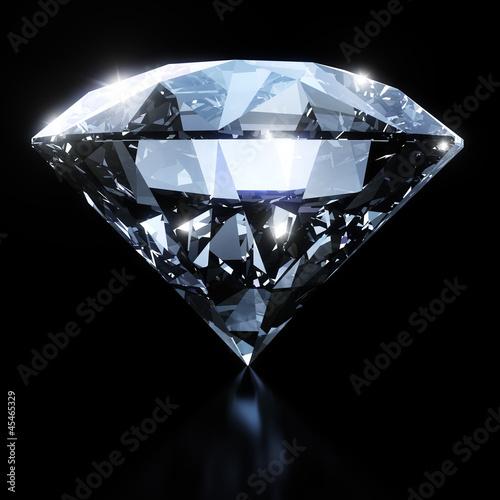 Obraz na plátně Shiny diamond isolated on black background