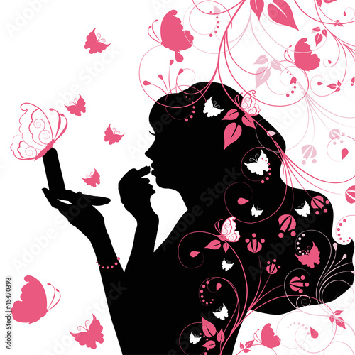 Poster Hibou Beauty woman with butterfly