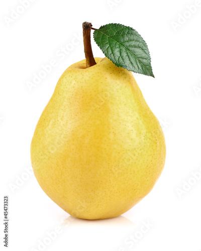Ripe pear with leaf