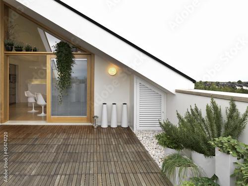 Fotografie, Obraz  terrazzo con vista cucina e vasi di rosmarino