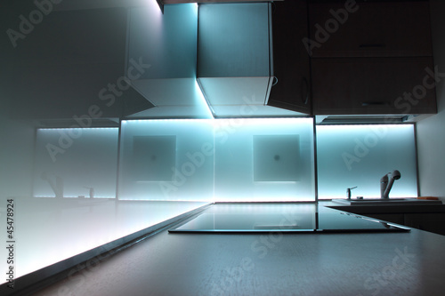 Fotografie, Obraz  modern luxury kitchen with white led lighting
