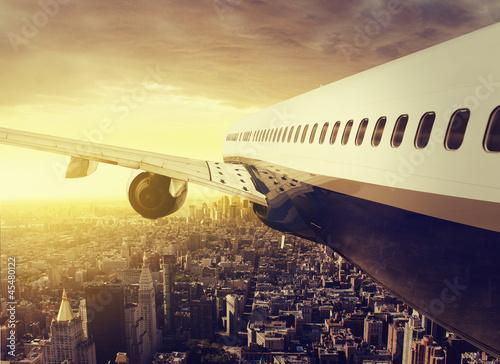 Obraz samolot  airplane-over-a-big-city