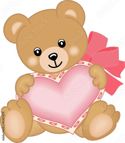 Cute teddy bear with heart #45483374