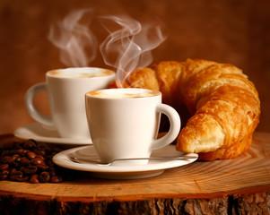 Fototapeta Do restauracji Cappuccino caldo e Brioche