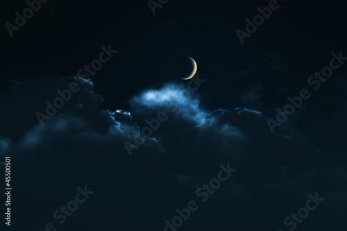Obraz 夜の月 - fototapety do salonu