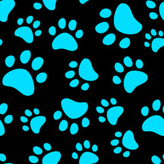 Fototapeta na wymiar Cat footprint seamless pattern, vector