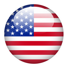 USA Flag On Button