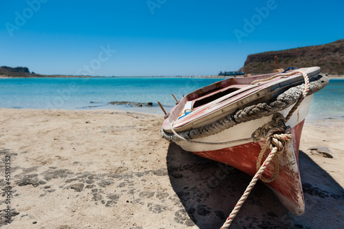 Foto-Leinwand - Kleines Fischerboot am Strand/Small Fisherboat at the beach