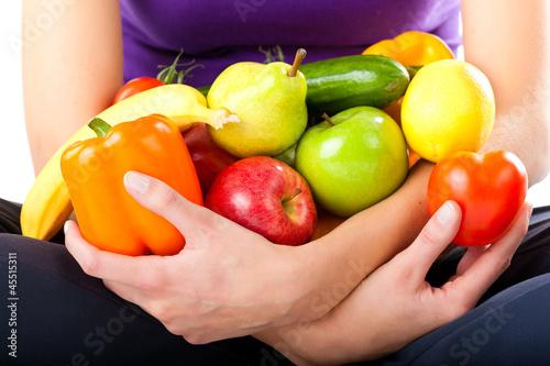 Fotografie, Obraz  Gesunde Ernährung - junge Frau mit Obst