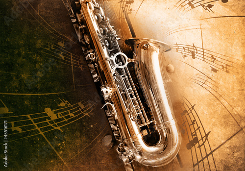 Fotografie, Obraz  Old Saxophone with dirty background