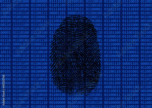 Digitaler Fingerabdruck schwarz Wallpaper Mural