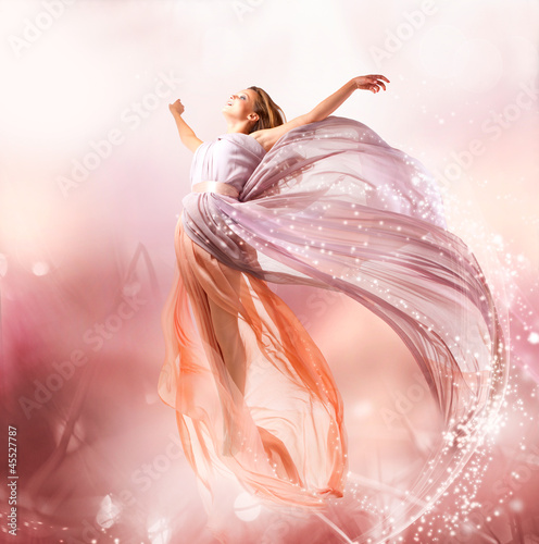 Fotografie, Tablou  Fairy. Beautiful Girl in Blowing Dress Flying. Magic