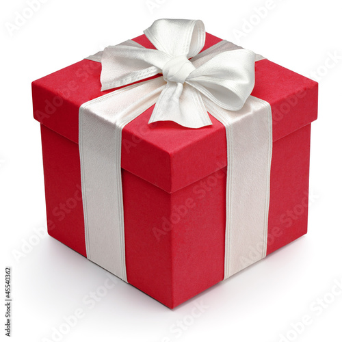Fotografie, Obraz  Red gift box with white ribbon and bow.