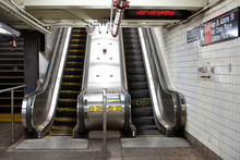 Interior View With Escalators Of Subway Station In NYC.