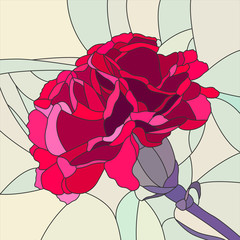 Naklejka Popularne Vector illustration of flower red carnation.