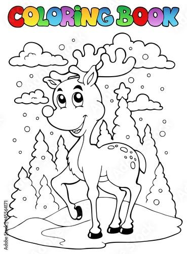 Spoed Foto op Canvas Doe het zelf Coloring book reindeer theme 1