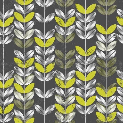 retro roślinny deseń szare i zielone liście na ciemnym tle