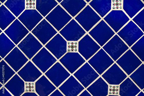 Blue Ceramic Tile Wallpaper Background