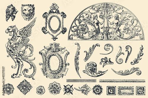 Obraz Hand drawn vector retro ornaments - fototapety do salonu