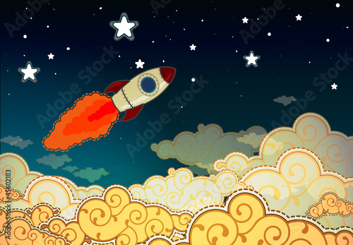 Poster Kosmos Cartoon rocket flying to the stars