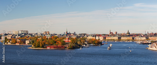 Photo  Panoramic image of Stockholm city.