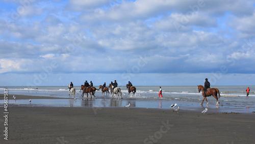 Foto-Schiebegardine Komplettsystem - Reiter am Strand (von Elisabeth)