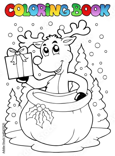Spoed Foto op Canvas Doe het zelf Coloring book reindeer theme 2