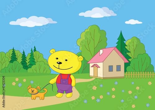Foto auf Leinwand Hunde Teddy bear walking with a dog