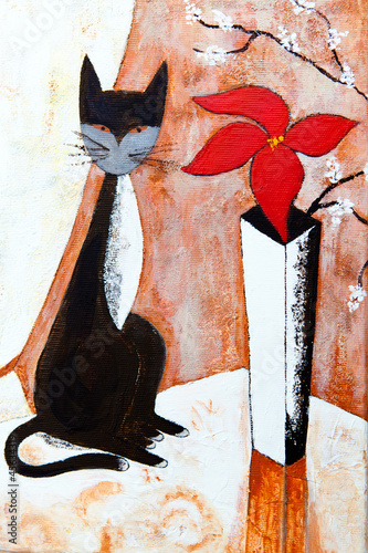 czarny-kot-z-kwiatem