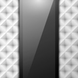 White vector geometric background with black panel