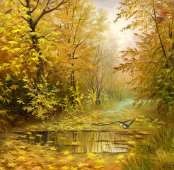 Obraz na Szkle Natura beautiful autumn landscape, canvas, oil
