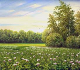 Fototapetabeautiful summer landscape, canvas, oil