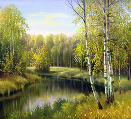 Fototapeta Krajobraz autumn landscape, canvas, oil
