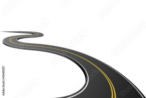 Fotografiet Abstract asphalt road isolated on white