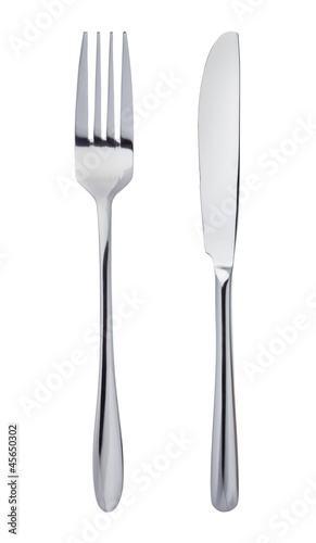 Knife and fork isolated on white background Fotobehang