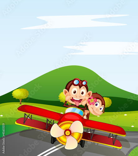La pose en embrasure Avion, ballon monkey and aeroplane