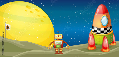 Garden Poster Cosmos robot and space shuttle