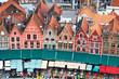 canvas print picture - Roofs of Flemish Houses in Brugge, Belgium